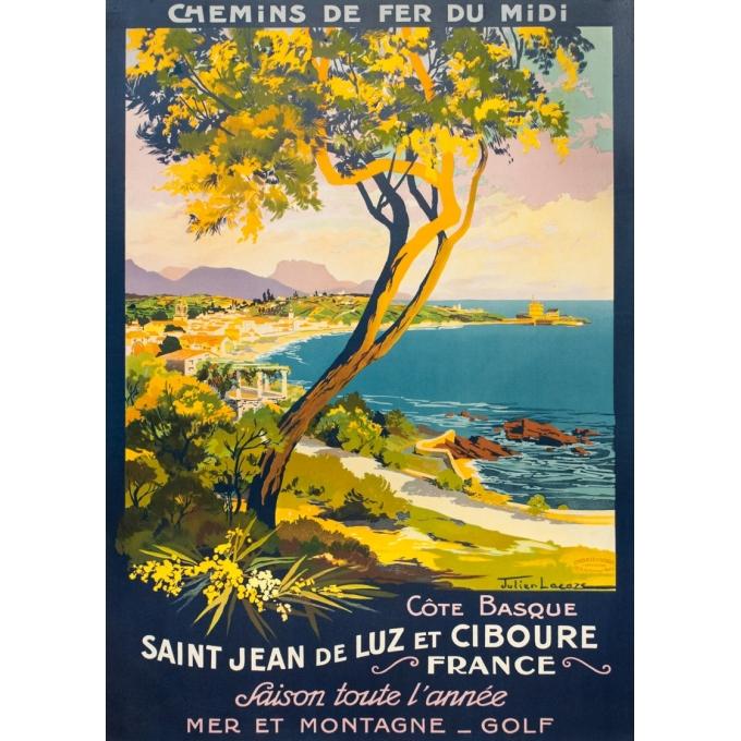 Affiche ancienne de voyage - Julien Lacaze - 1930 - Saint Jean De Luz Ciboure Côte Basque - 107 par 75.5 cm