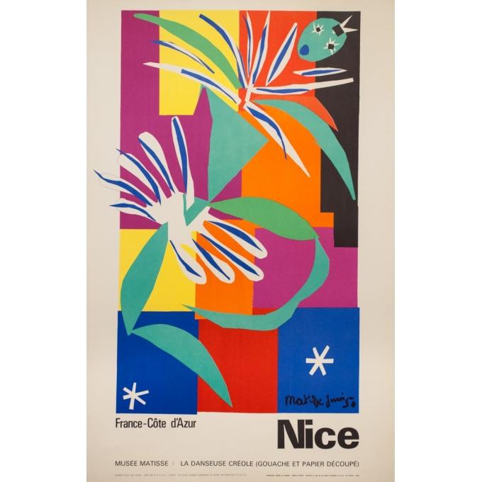 Affiche ancienne de voyage - Henri Matisse - 1950 - Nice - 99 par 63.5 cm