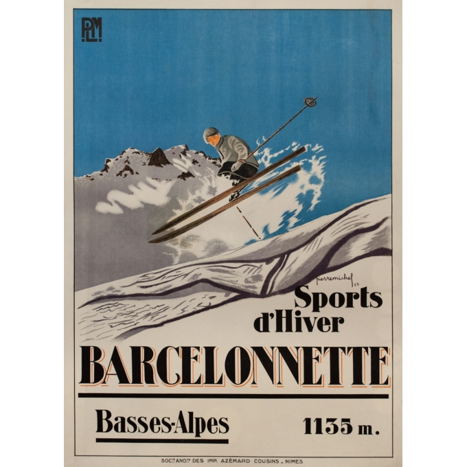 Vintage travel poster - Pierre Michel - 1928 - Barcelonette Plm Sports D'Hiver - 42.3 by 30.7 inches