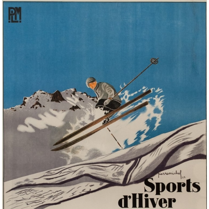 Vintage travel poster - Pierre Michel - 1928 - Barcelonette Plm Sports D'Hiver - 42.3 by 30.7 inches - 2