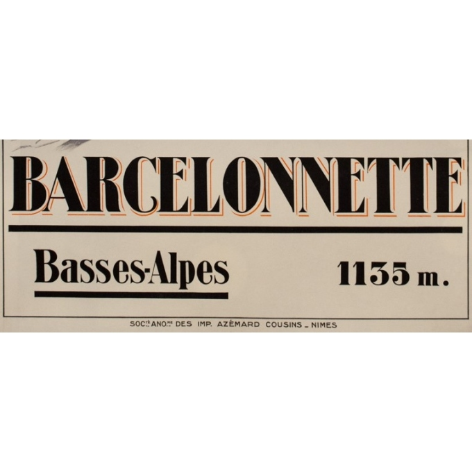 Vintage travel poster - Pierre Michel - 1928 - Barcelonette Plm Sports D'Hiver - 42.3 by 30.7 inches - 3