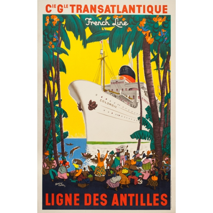 Vintage travel poster - Edouard Colin - 1950 - Ligne Des Antilles Compagnie Transatlantique French Line - 39.2 by 25.6 inches