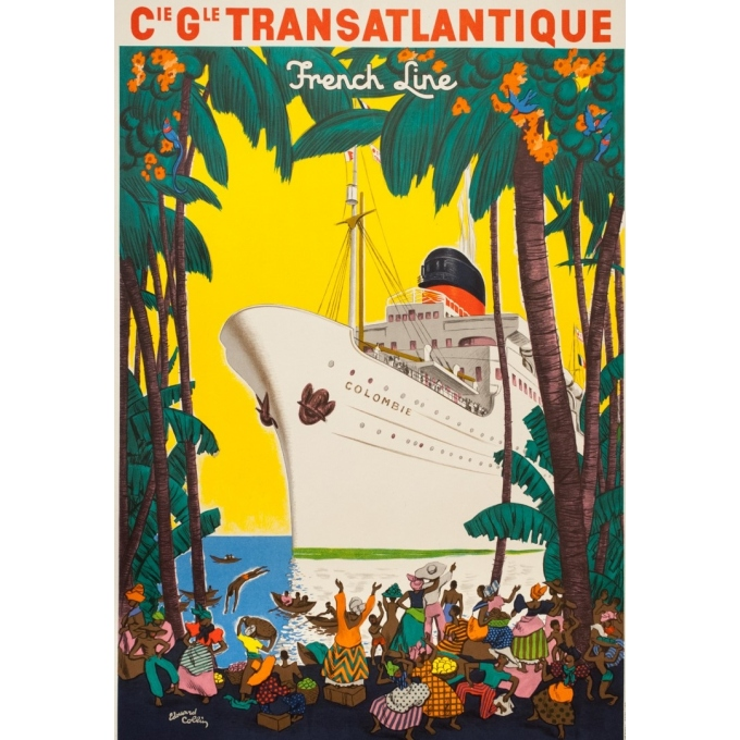 Vintage travel poster - Edouard Colin - 1950 - Ligne Des Antilles Compagnie Transatlantique French Line - 39.2 by 25.6 inches -2
