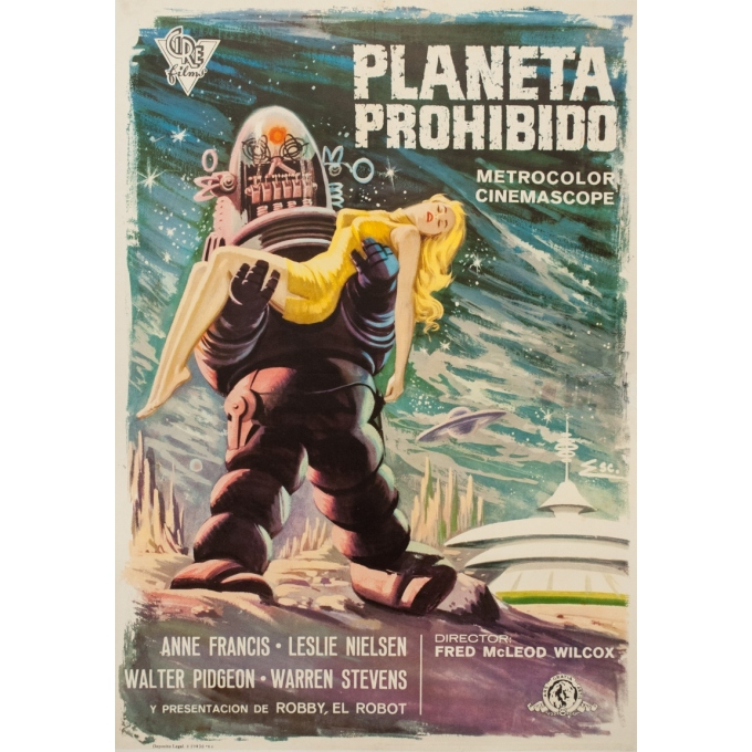Original vintage movie poster - 1960 - Planeta Prohibido Espagne Planete Interdite - 39 by 27.2 inches