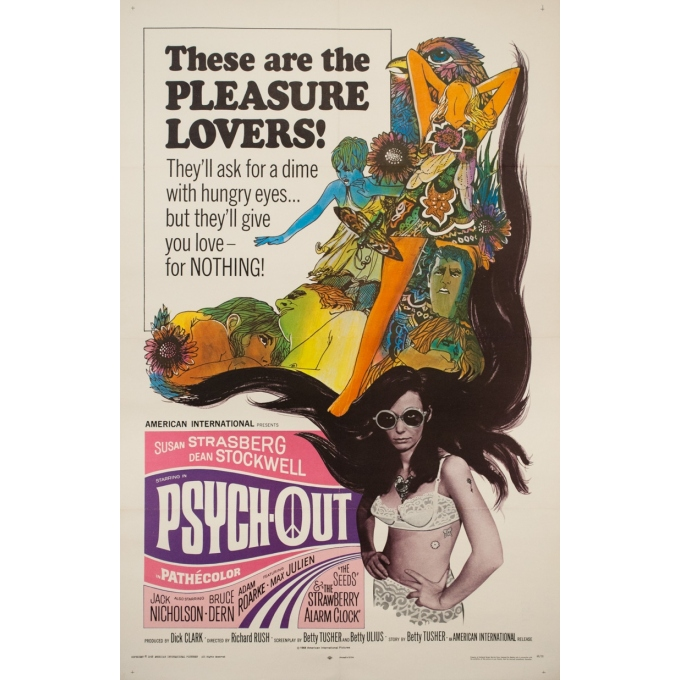 Original vintage movie poster - 1968 - Psychout One Sheet Usa - 41.1 by 27.2 inches