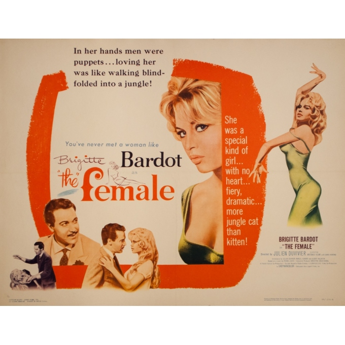 Original vintage movie poster - 1960 - The Female Bardot - 27.6 by 21.3 inches