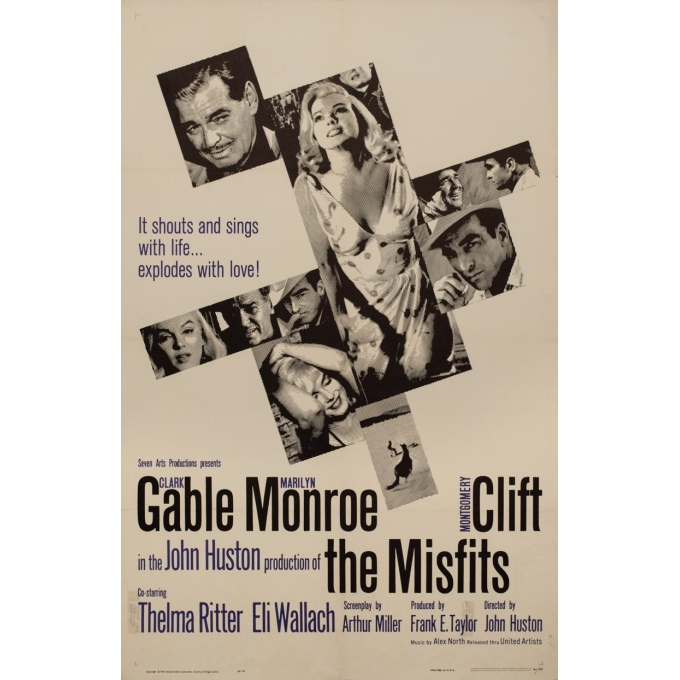 Original vintage movie poster - 1961 - The Misfits One Sheet Usa Marilyn Monroe - 41.7 by 27 inches