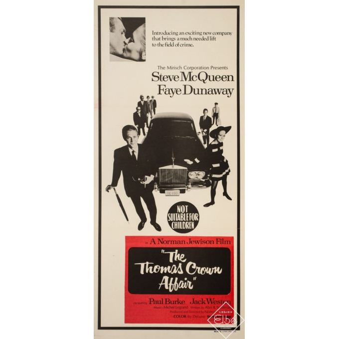 Original vintage movie poster - 1967 - The Thomas Crown Affair Australia - 29.9 by 13.2 inches