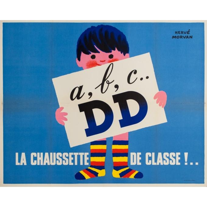 Vintage advertising poster - Hervé Morvan - 1950s - A B C DD La Chaussette De Classe - 41.3 by 33.1 inches