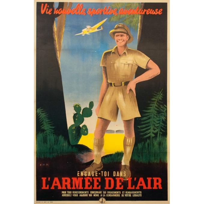 Affiche ancienne de publicité - J.M.P -Circa 1925 - Engage Toi Dans L'Armee De L'Air - 118.5 par 80 cm