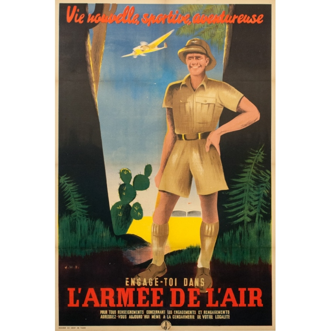 Vintage advertising poster - J.M.P -Circa 1925 - Engage Toi Dans L'Armee De L'Air - 46.6 by 31.5 inches