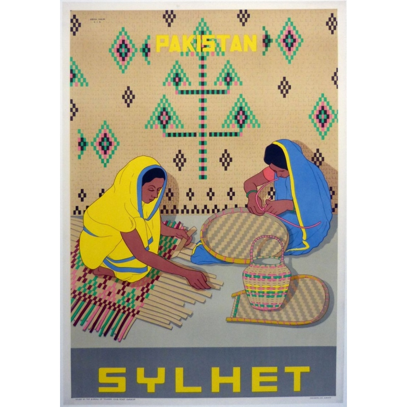 Affiche originale Pakistan Sylhet. Elbé Paris.