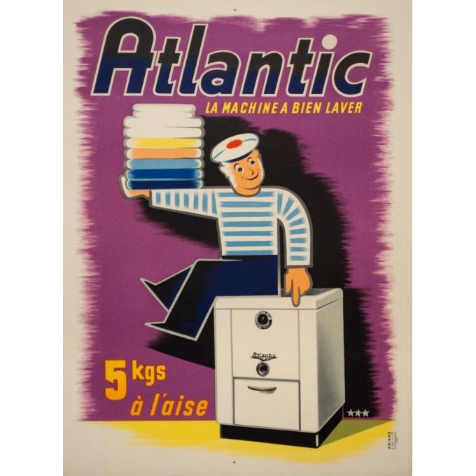 Affiche ancienne de publicité - 1950 - Atlantic La Machine À Bien Laver - 80 par 59 cm