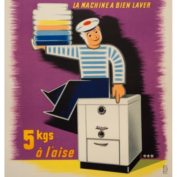 Affiche ancienne de publicité - 1950 - Atlantic La Machine À Bien Laver - 80 par 59 cm - 2