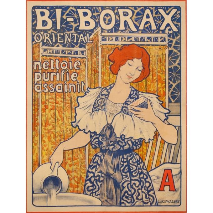 Affiche ancienne de publicité - L. Kowalsky - 1900 - Bi Borax - 85 par 65 cm