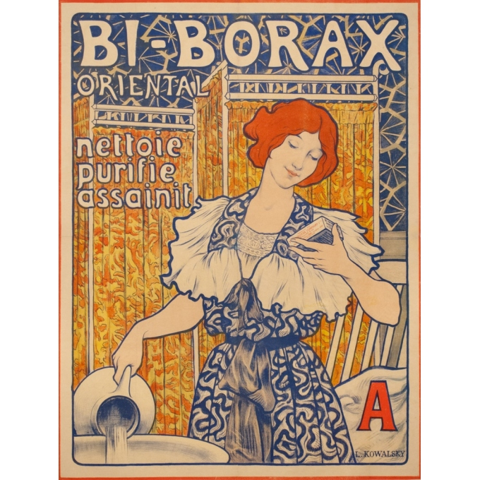 Vintage advertising poster - L. Kowalsky - 1900 - Bi Borax - 33.5 by 25.6 inches