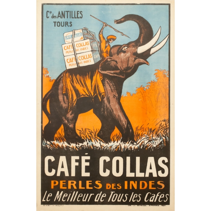 Vintage advertising poster - 1927 - Café Collas Perle Des Indes - 44.1 by 29.9 inches
