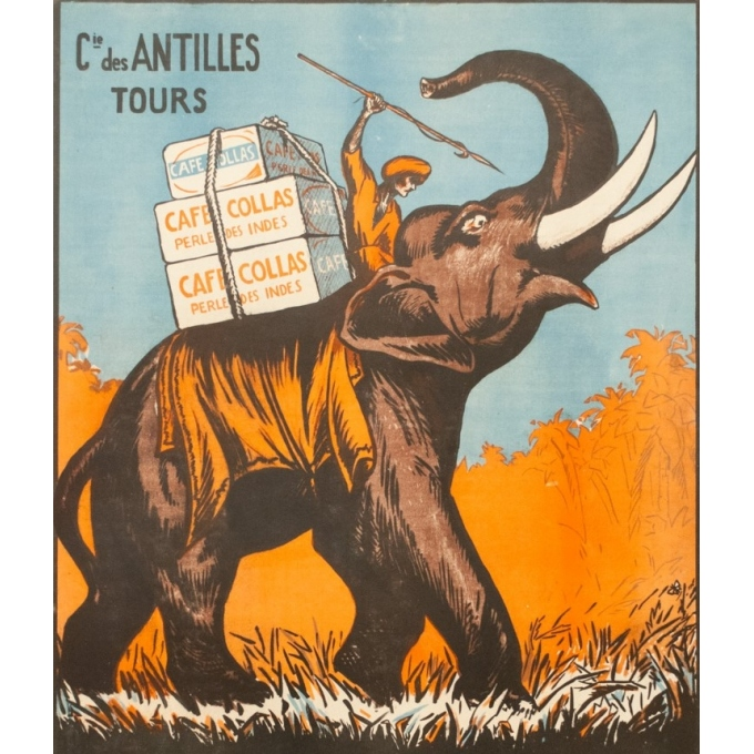 Vintage advertising poster - 1927 - Café Collas Perle Des Indes - 44.1 by 29.9 inches - 2