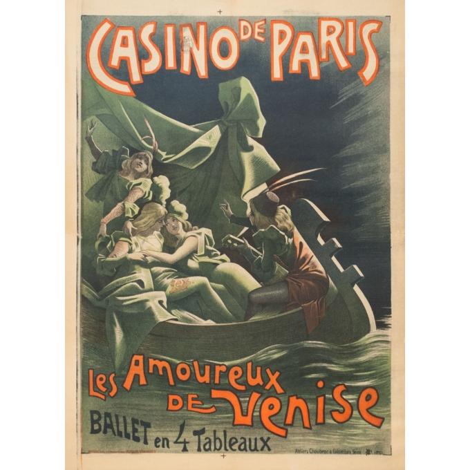 Vintage advertising poster - Choubrac - 1900 - Casino De Paris Les Amoureux De Venise - 32.3 by 23.6 inches