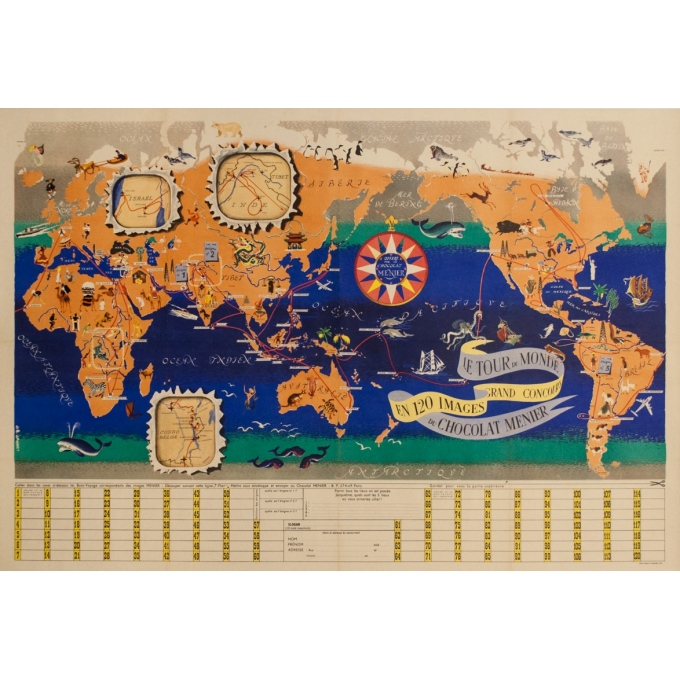 Vintage advertising poster - Jb Jannot - Circa 1955 - Chocolat Menier Planisphere - 44.1 by 30.3 inches