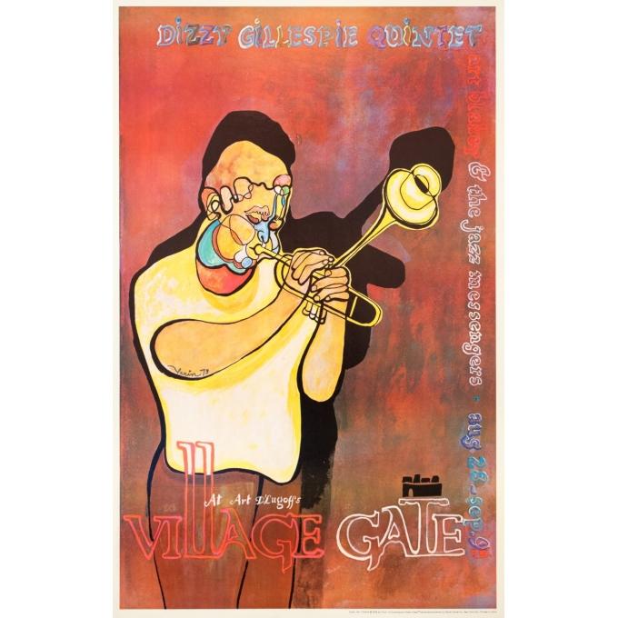 Vintage advertising poster - AvI Farin - 1979 - Concert Jazz Village Gate Dizzy Gillespie Quintet - 37.4 by 23.2 inches