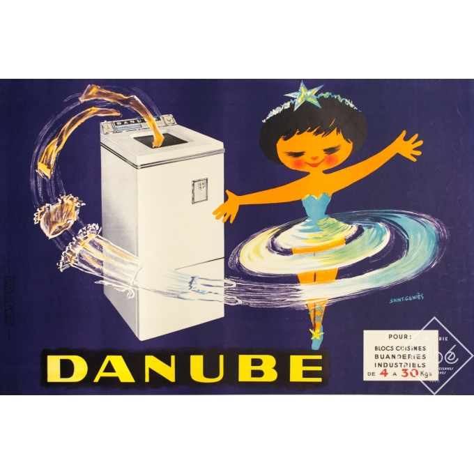 Vintage advertising poster - Saint-Géniès - 1950s - Danube - 45.7 by 30.7 inches