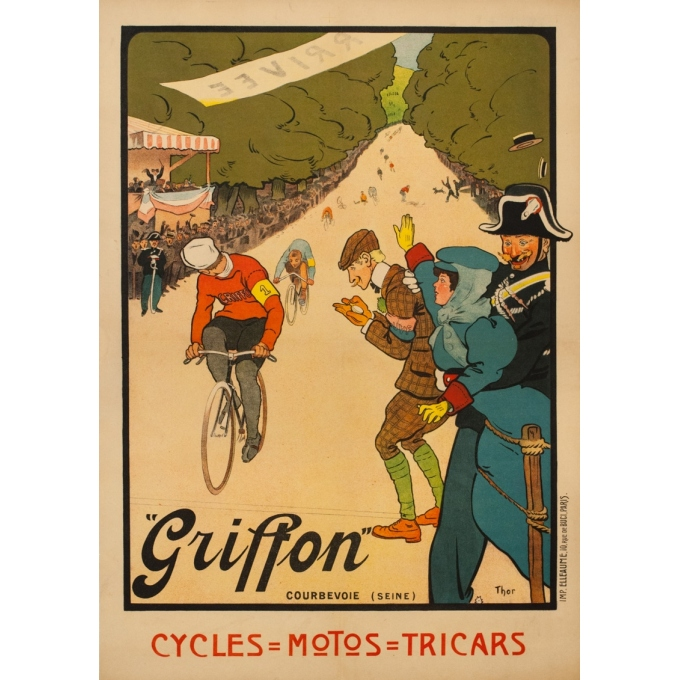Vintage advertising poster - THOR - 1910 - Griffon Cycles Velo - 42.1 by 29.9 inches