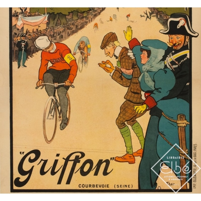 Vintage advertising poster - THOR - 1910 - Griffon Cycles Velo - 42.1 by 29.9 inches - 3