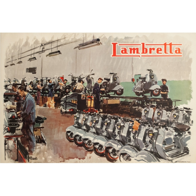 Vintage advertising poster - Albert Brenet - 1950s - Lambretta - 46.5 by 31.1 inches