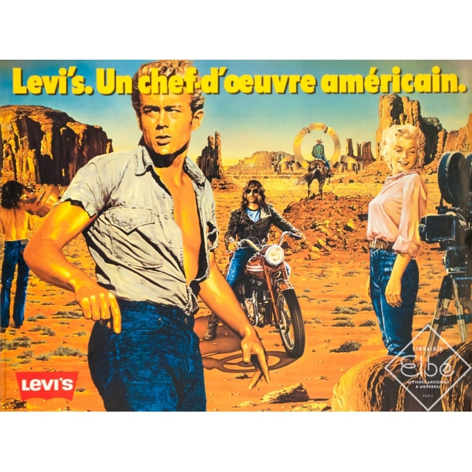 Vintage advertising poster - P.Peyrole - 1970 - Levi's Small Size - 23.6 by 17.7 inches