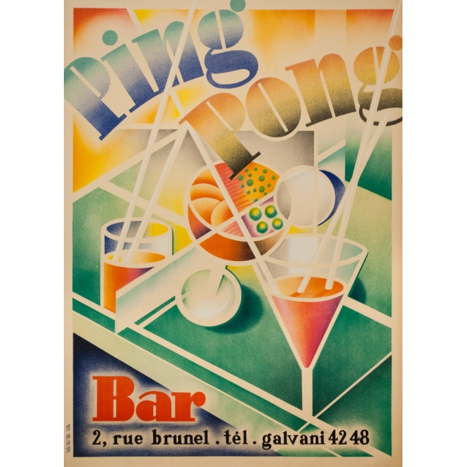 Vintage advertising poster - 1950s - Ping Pong Bar - 32.1 by 23.2 inches