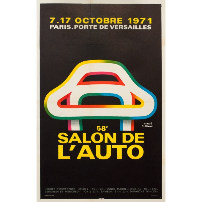 Vintage advertising poster - Hervé Morvan - 1971 - Salon De L'Auto 1971 - 41.9 by 26.4 inches