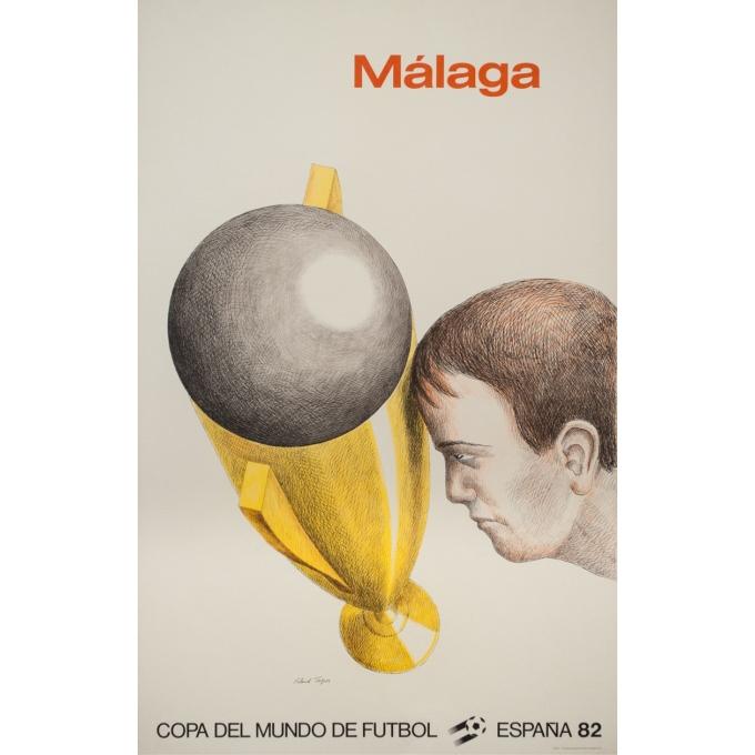 Vintage advertising poster - Roland Topor - 1982 - Copa Del Mundo De Futbol Football Espana Malaga - 37.4 by 24 inches