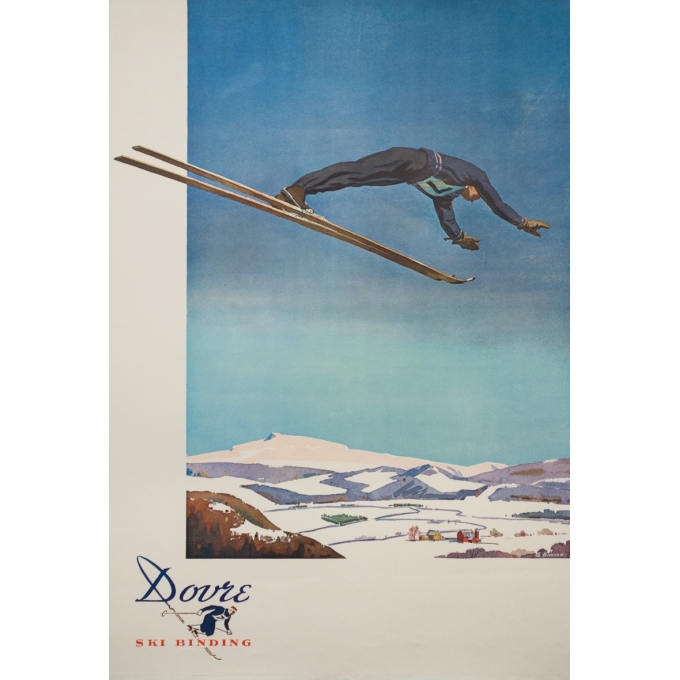 Vintage advertising poster - G. Hansen - 1960 - Ski Russia Dovre - 35.4 by 24.8 inches