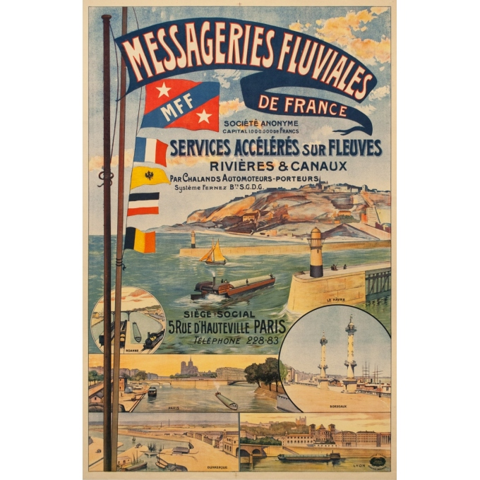 Vintage travel poster - 1920 - Messageries Fluviales De France - 46.3 by 31.5 inches