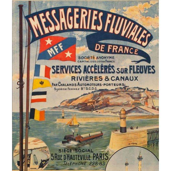 Vintage travel poster - 1920 - Messageries Fluviales De France - 46.3 by 31.5 inches - 2