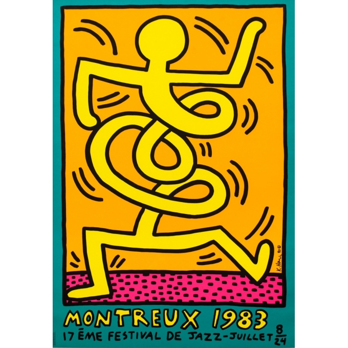 Silkscreen poster - Keith Haring - 1983 - Festival De Jazz De Montreux - 39.2 by 27.6 inches