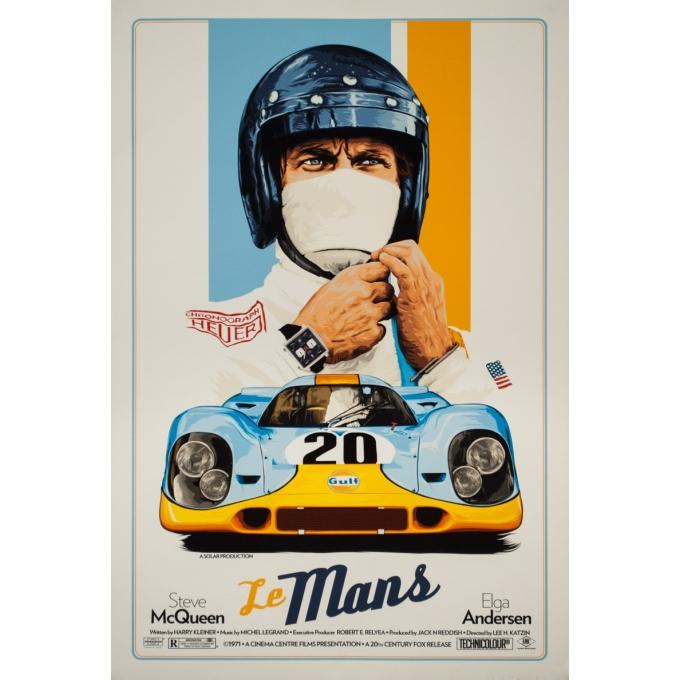 Affiche sérigraphiée originale - Le mans Contemporain Porsche Tagheuer Steve Mc Queen - 91 par 61.5 cm