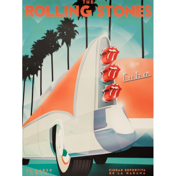 Silkscreen poster - 2016 - The Rolling Stones Concert A Cuba Mars 2016 - 24 by 18.1 inches
