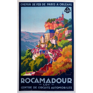 An original poster of France : Rocamadour (western France). Elbé Paris.