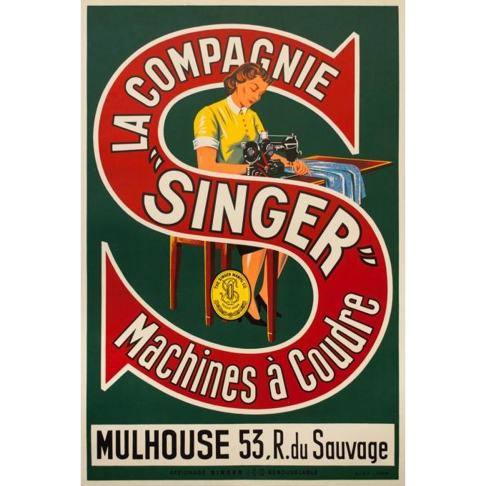 Affiche ancienne de publicité -  - circa 1950 - La Compagnie Singer Machines À Coudre - 117 par 79 cm