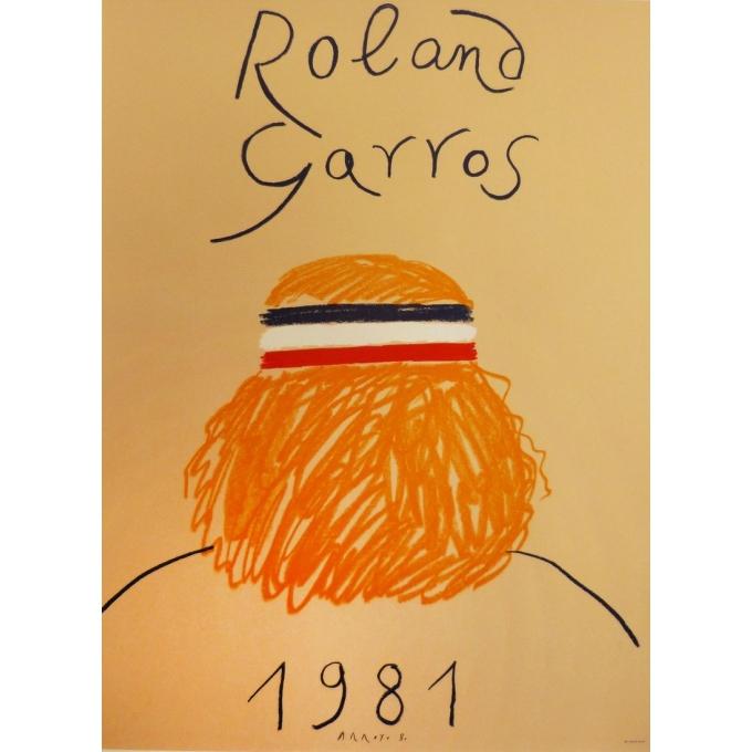 Affiche originale de Roland Garros 1981 par Eduardo Arroyo. Elbé Paris.