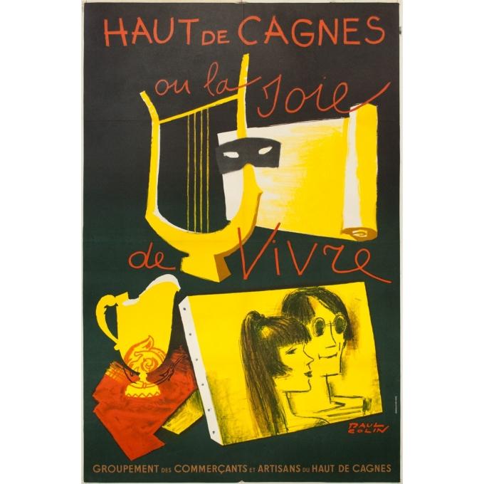 Affiche ancienne d'exposition - Paul Colin - circa 1960 - Haut De Cagnes Ou La Joie De Vivre Commerçants - 119.5 par 79 cm