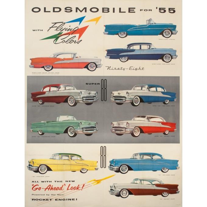 Affiche ancienne de publicité - 1955 - Oldsmobile For' 55 Flying Colors - 126 par 96 cm