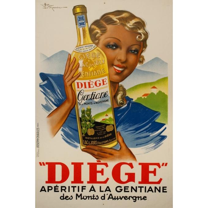 Affiche ancienne de publicité - Henry le Monnier - circa 1940 - Diège Gentiane Auvergne - 120.5 par 80 cm