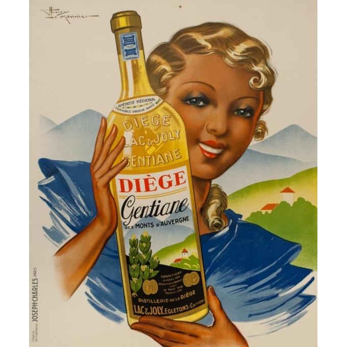 Affiche ancienne de publicité - Henry le Monnier - circa 1940 - Diège Gentiane Auvergne - 120.5 par 80 cm - 2