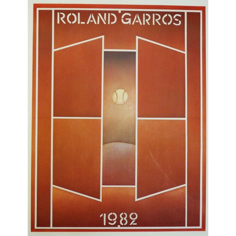 Original poster of Roland Garros 1982 by Jean-Michel Folon. Elbé Paris.