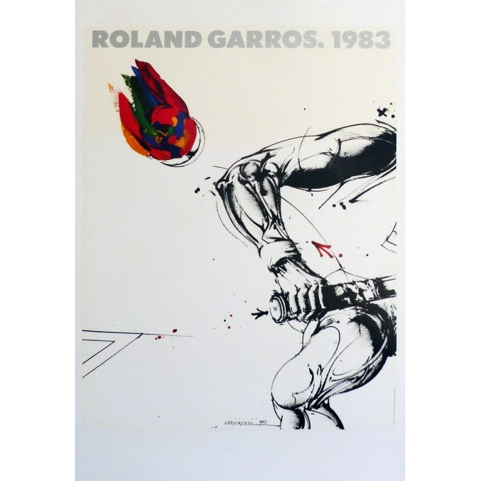 Affiche originale de Roland Garros 1983 par Vladimir Velickovic. Elbé Paris.