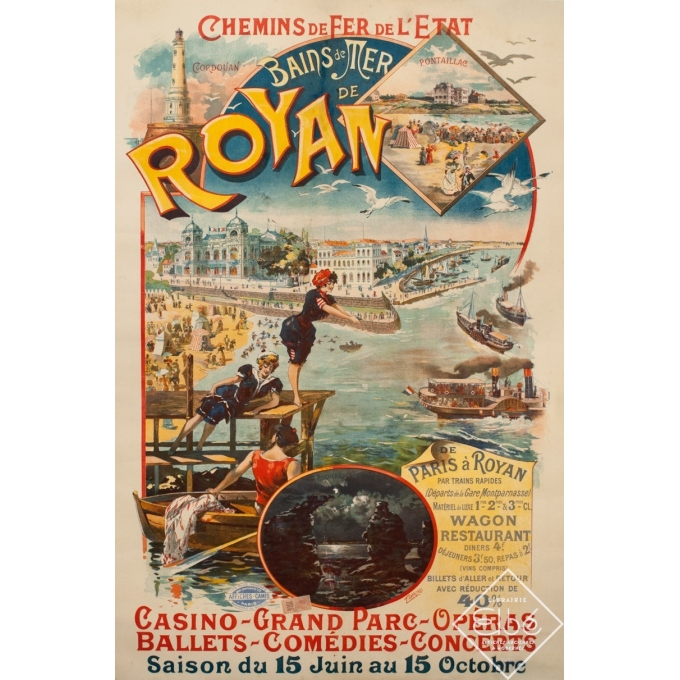 Affiche ancienne originale - Bains de Mer de Royan - 1890 - Maurice Tamagno