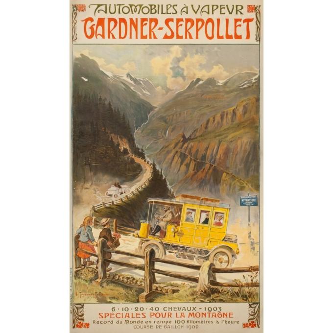 Affiche ancienne de publicité - Trinquier-Trianon - 1903 - Automobile À Vapeur Gardner Serpollet - 129 par 75 cm